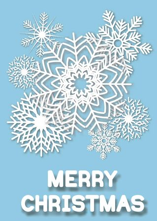 whit: Christmas greeting card whit cut paper snowflakes. illustrations.