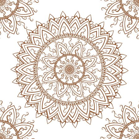 Round ornament seamless pattern background in Indian mehndi style illustration 向量圖像