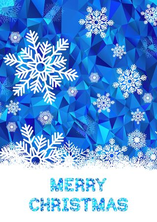 Christmas greeting card template. White snowflakes on blue polygonal background.
