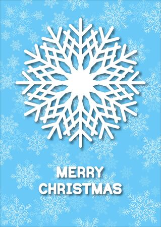 hoarfrost: Christmas greeting card with cut paper snoflakes. White snowflakes with shadow on blue background. illustrations.