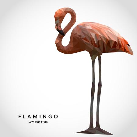 Flamingo low poly style. Polygonal mosaic illustration Vettoriali