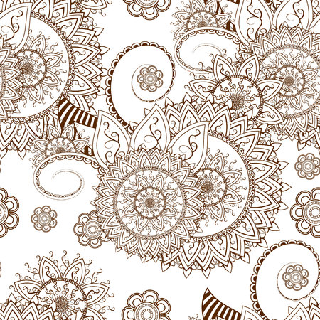 Lacy seamless pattern with traditional Indian or Asian elements 向量圖像