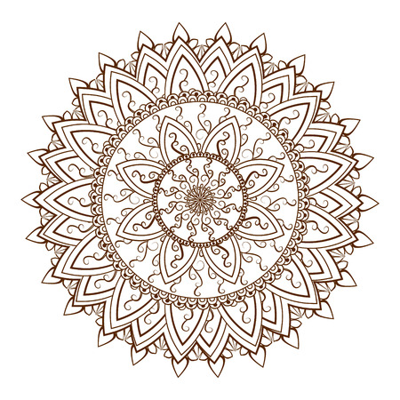 Round floral ornament pattern. Design element in  Indian Mehndi  stayle. illustration Vectores