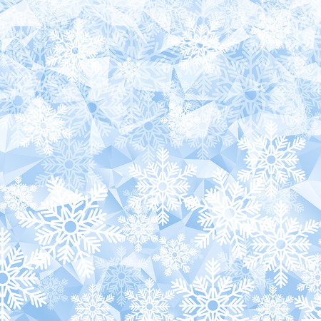 hoarfrost: Christmas holiday background. White snowflakes on blue polygonal mosaic.  Low poly style vector illustration