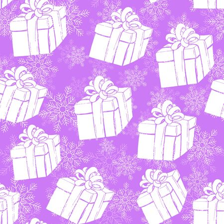 amaranthine: Gift boxes seamless pattern with white presents and snowflake. Winter holidays presents. Vector illustration