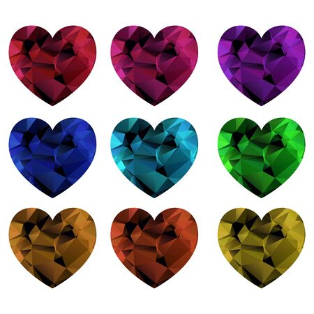 Set of colorful hearts low poly style. Polygonal mosaic. Vector illustration 向量圖像
