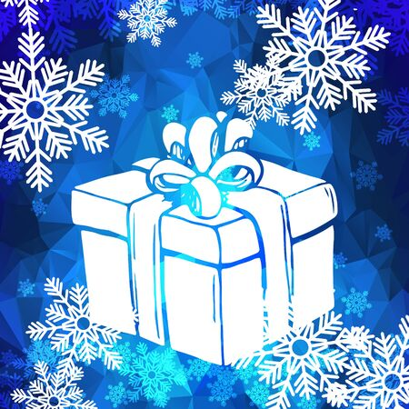 Biglietto di auguri di Natale con fiocchi di neve e confezione regalo. Fiocchi di neve bianche e regalo su sfondo blu poligonale. Modello di vettore in stile basso poli.