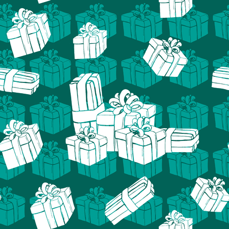 celadon: Gift boxes seamless pattern with white presents and snowflake. Winter holidays presents. Vector illustration