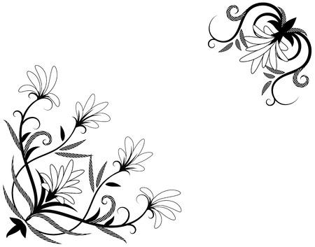 Elemento para el diseño de la esquina. Elemento decorativ floral. Ilustración vectorial