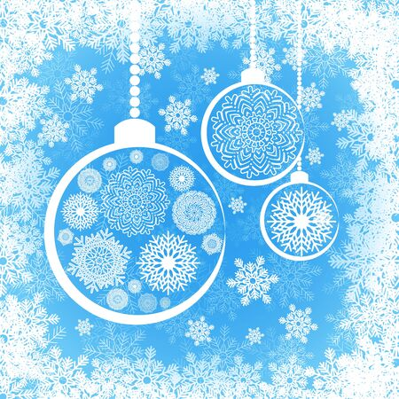 cristmas card: Christmas greeting card template with white snoflakes and Cristmas balls on blue snowy background. Vector template Illustration