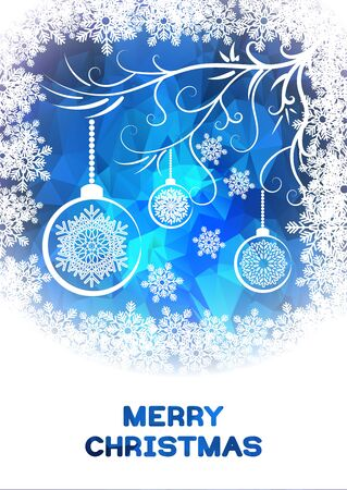 cristmas card: Christmas greeting card template with white snoflakes and Cristmas balls. White snowflakes, snowy branch and Christmas balls on blue polygonal background. Vector template low poly stayl.