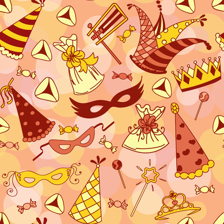 hamantaschen: Seamless pattern background for Jewish holiday Purim: carnival masks and hats, holiday gifts, candy and  traditional  cookies. Vector illustration.