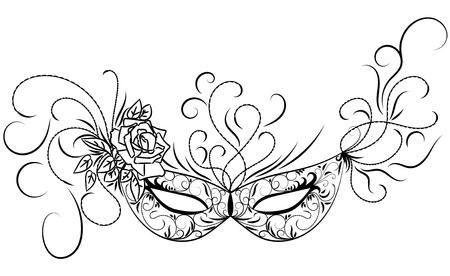 Schets carnaval masker. Zwart overzicht en versierd met mooie patronen en bloemen. Vector illustratie.
