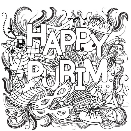 purim carnival: Hand drawn background Jewish holiday Purim: carnival masks and hats, candy, traditional cookies doodles elements.  Vector illustration. Illustration