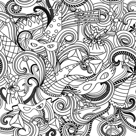 purim carnival: Seamless pattern background  for Jewish holiday Purim: carnival masks and hats, holiday gifts, candy and  traditional  cookies.  Vector illustration in black and white.