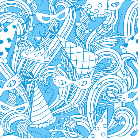 masque: Purim Jewish holiday seamless pattern. Blue color background with carnival masks and hats, holiday gifts, candy and  traditional  cookies. Vector illustration.