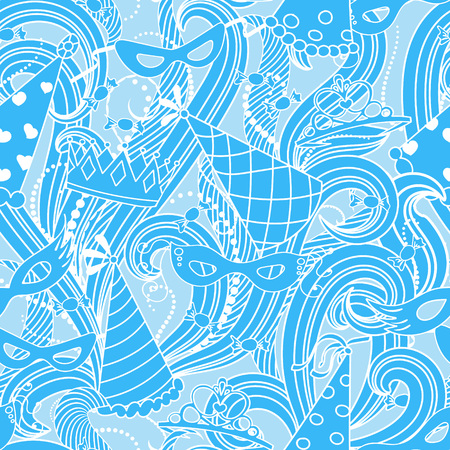 haman: Purim Jewish holiday seamless pattern. Blue color background with carnival masks and hats, holiday gifts, candy and  traditional  cookies. Vector illustration.