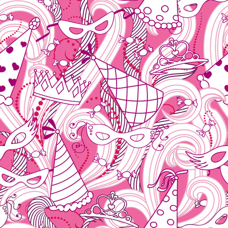 purim carnival party: Purim Jewish holiday seamless pattern. Pink colore background with carnival masks and hats, holiday gifts, candy and  traditional  cookies. Vector illustration.