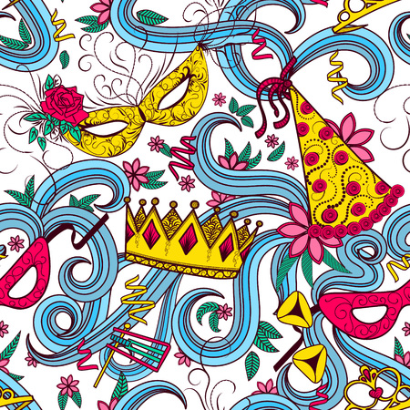 Purim Jewish holiday seamless pattern. Colorful background with carnival masks and hats, holiday gifts, candy and  traditional  cookies. Vector illustration.