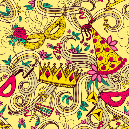 purim carnival: Purim Jewish holiday seamless pattern. Colorful background with carnival masks and hats, holiday gifts, candy and  traditional  cookies. Vector illustration.