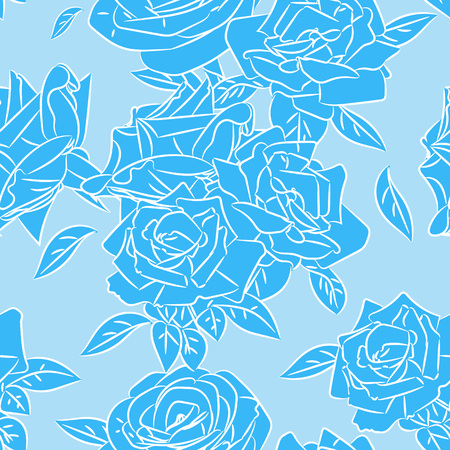 blooms: Rose blooms seamless pattern. Vector illustration. Illustration