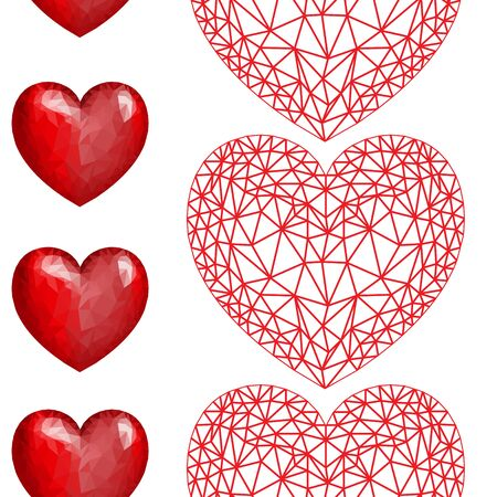 Hearts seamless pattern. Red hearts on white background. Valentine's day background. Vector illustration