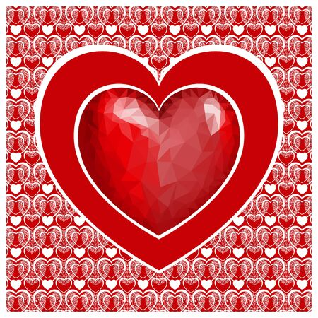 Valentine's day card with heart . Red heart low poly style on red background. Vector background
