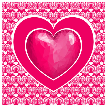 Valentine's day card with heart . Pink heart low poly style on pink background. Vector background