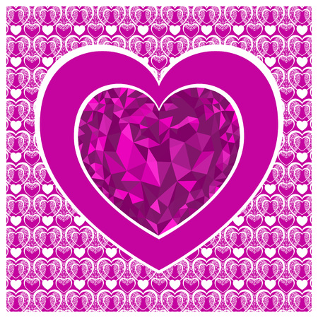 Valentines day card with heart . Pink heart low poly style.  Vector background Ilustrace
