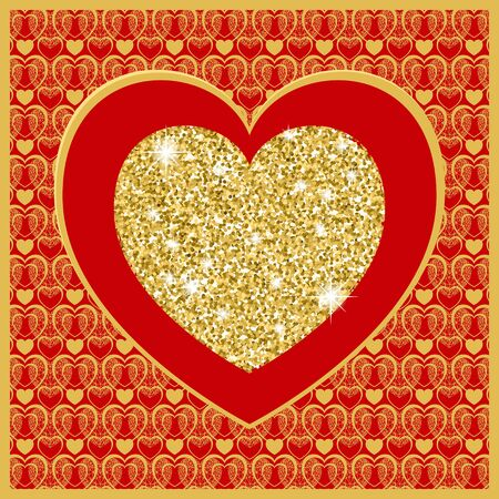 Valentines day card with heart . Golden heart on red background. Vector background