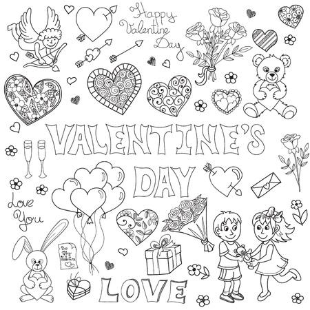 cute angel: Valentines day doodles set. Hand drawn elements for design.  Vector illustration
