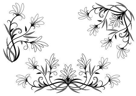 page decoration: Floral elements for page decoration. Vector set illustration