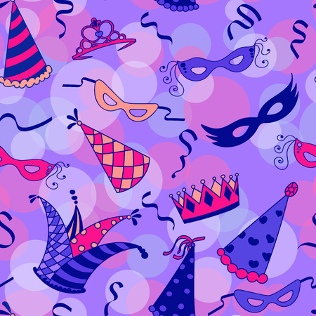 purim carnival party: Colorful masquerade seamless pattern background. Vector illustration.
