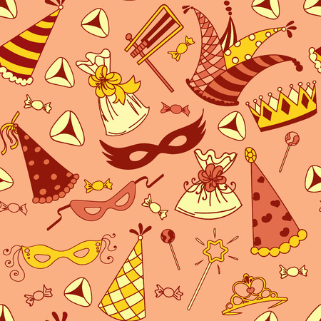 Seamless pattern background for Jewish holiday Purim: carnival masks and hats, holiday gifts, candy and  traditional  cookies. Vector illustration.