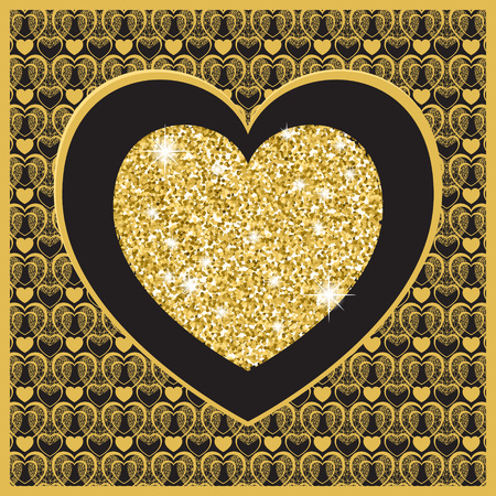 Valentines day card with heart . Golden heart on black background. Vector background