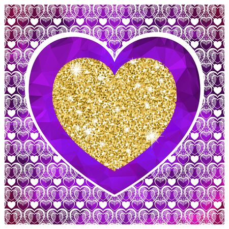 Valentine's day card with heart . Golden hearte on violet low poly background. Vector background
