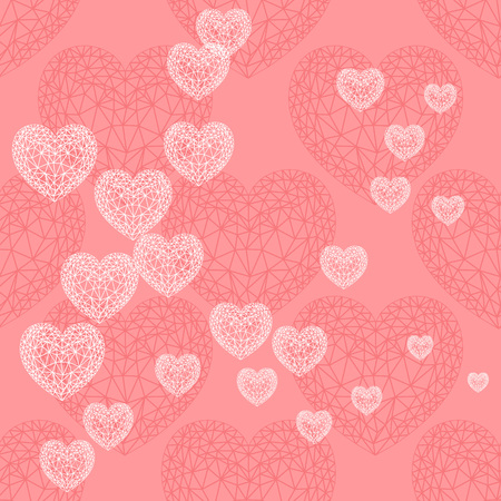 white bacground: Valentines day card with hearts. White thin line ornamental hearts on pink  bacground. Vector background