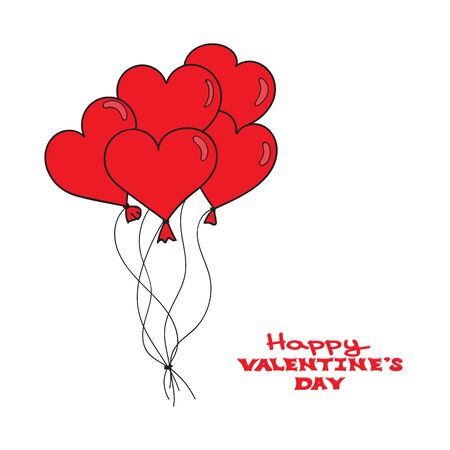 Valentines Day card template. Hand drawn red hearts balloons on white background. Happy Valentines day. Vector illustration