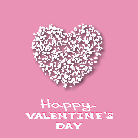 pink background: Happy Valentines Day card template. Small white paper circles in the shape of heart. Paper heart with shadow. Vector illustration. Illustration