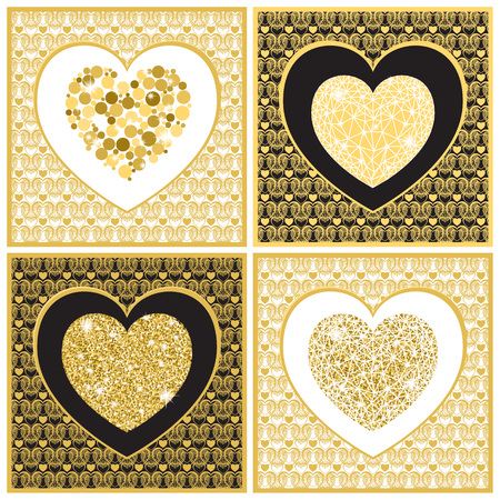 golde: Set Valentines day greeting card tamplete. Golden hearts on black and white background. Vector illustration.