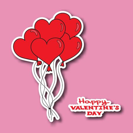 red balloons: Valentines Day card template. Hand drawn red hearts balloons. Happy Valentines day. Vector illustration