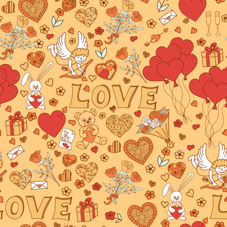 amur: Valentines day seamless pattern background. Love symbols. Vector illustration