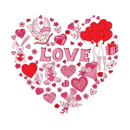amur: Hand drawn Valentines Day design elements. Doodles in heart shape. Love symbolse. Vector illustration