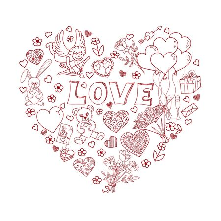 amur: Hand drawn Valentines Day design elements. Doodles in heart shape. Love symbols. Vector illustration Illustration