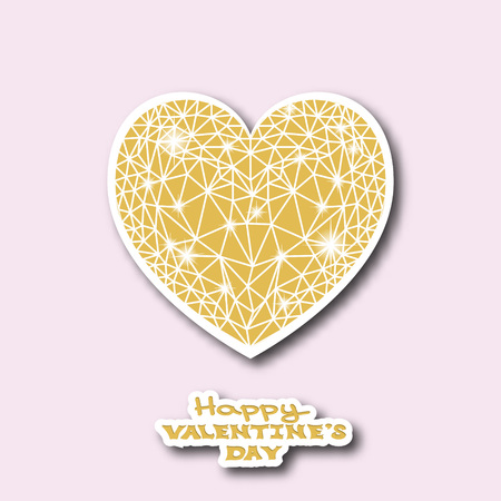 whit: Valentines dsy greeting card.  Golden heart whit shadow. Vector illustration