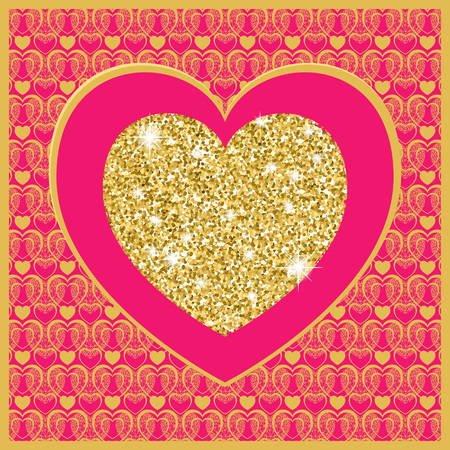 golden heart: Valentines day card with heart . Golden heart on pink background. Vector background