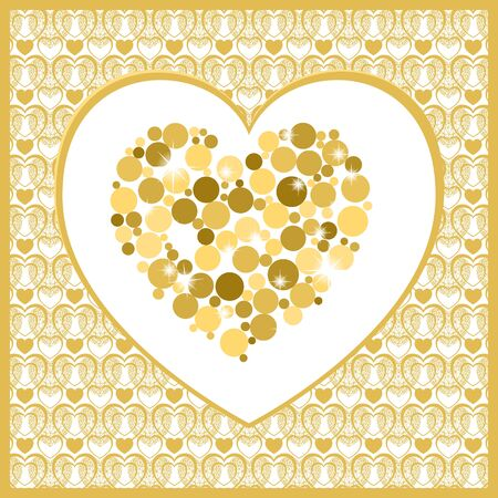 golden heart: Valentines day card with heart . Golden heart on white background. Vector background Illustration