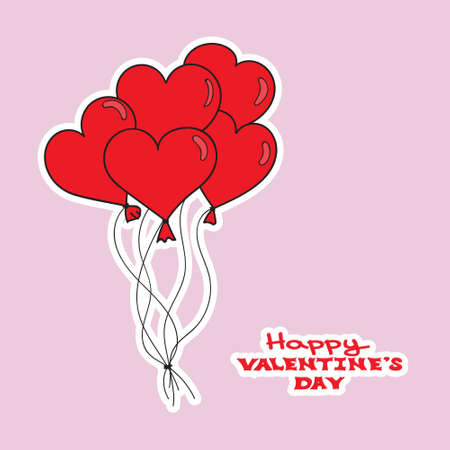 Valentines Day card template. Hand drawn red hearts ballons. Happy Valentines day. Vector illustration
