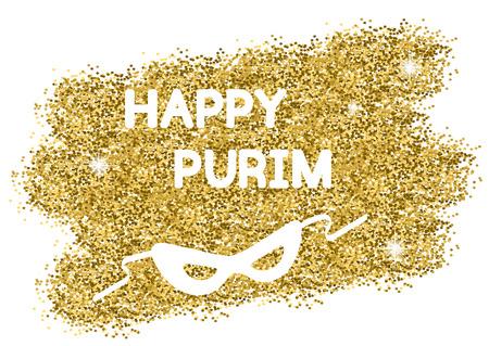 purim mask: Golden Purim background. Happy Purim.