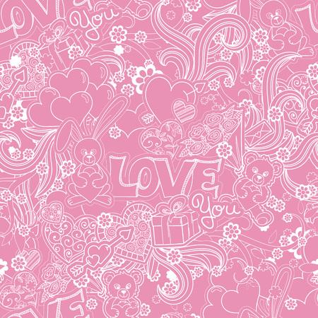 amur: Valentines day seamless pattern background. Love symbols. Vector illustration